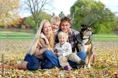 Happy Family and Pet Dog Autumn Portrait - 72111169