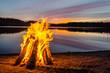 Leinwandbild Motiv Bonfire on the beach sand