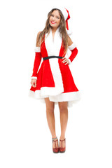 Beautiful woman wearing Santa Claus costume