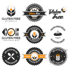 gluten free label set with modern, vintage elements