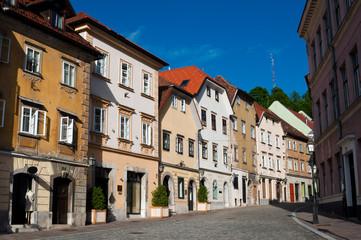 Houses in the old city center of Ljubljana, Slovenia