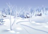 winter landscape illustration, small village in forest