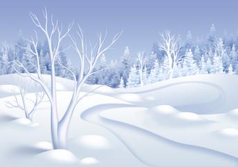 winter forest landscape illustration, frozen trees