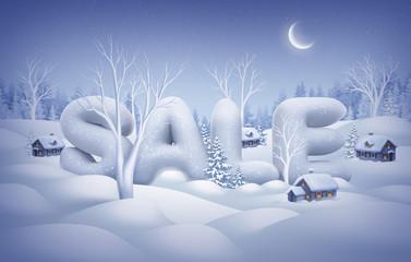 winter sale poster, snow text, midnight illustration