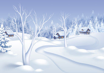 winter landscape illustration, small village in forest
