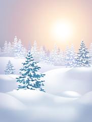 winter landscape vertical illustration, sunset in forest