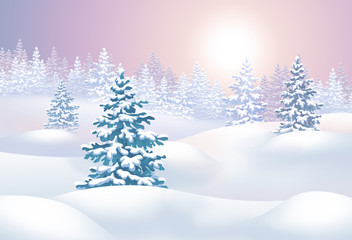 winter landscape horizontal illustration, sunset in forest