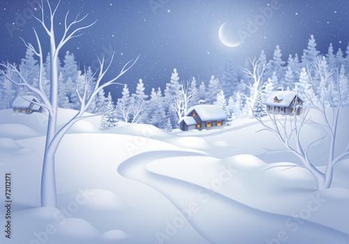 winter night landscape illustration, midnight is small village - 72112171