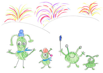 Child's drawing of Aliens celebrating happy New Year.