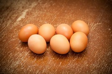 Chicken eggs of brown color, vintage