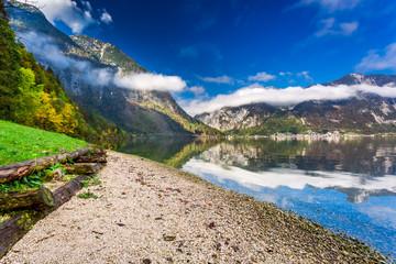 Sunny day at a mountain lake