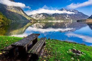 Unique place at mountain lake