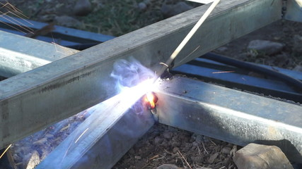 Flame of electric welding