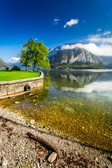 Small marina in a mountain lake