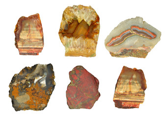 Collection of mountain minerals. Isolated.