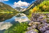 Fototapety Autumn trees near the mountain lake in Alps