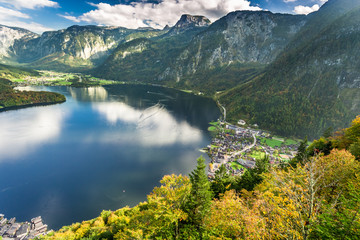 View of Hallstatt at sunset from the top