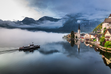 Foggy morning at the lake in the Alps