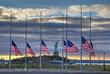 Leinwanddruck Bild - US Flags at half staff in on September 11, 2014