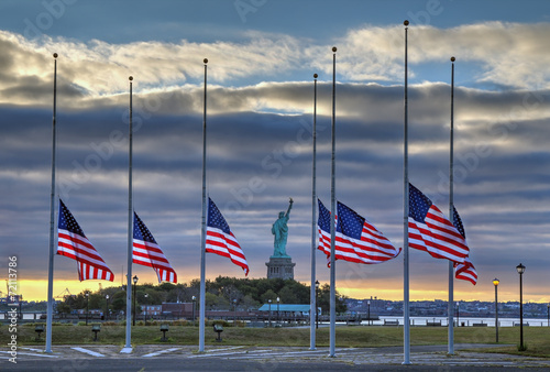 Fotobehang Historisch mon. US Flags at half staff in on September 11, 2014