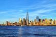 Obrazy na płótnie, fototapety, zdjęcia, fotoobrazy drukowane : New York City skyline in warm light at sunset
