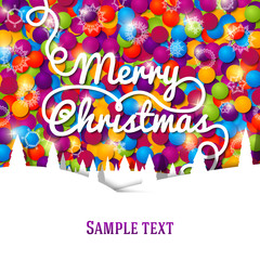 Merry Christmas greeting card with swirl lettering on the bright