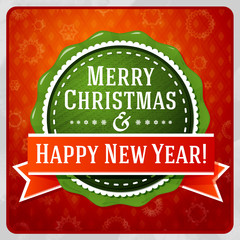 Vintage stylized green Merry Christmas and Happy New Year label