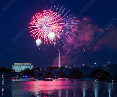Fireworks over Monuments in Washington, DC