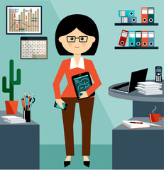 Office life. Business Woman in the style flat design