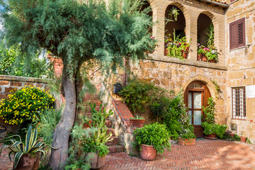 Beautiful porch in a small city in Tuscany