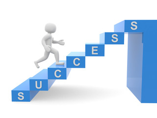 3d people - man, person climbing stairs and word SUCCESS - 3d re