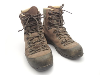 Hiking boots that have seen a lot of action