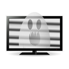 Ghost on lcd tv screen, vector illustration.
