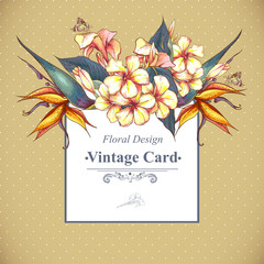 Floral Vintage Card with Exotic Flowers