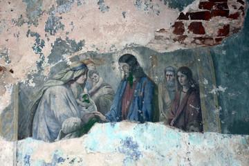 Fresco fragment in old orthodox church