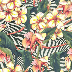 Seamless pattern with exotic flowers