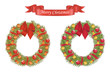 Christmas cartoon wreath with decarative elements