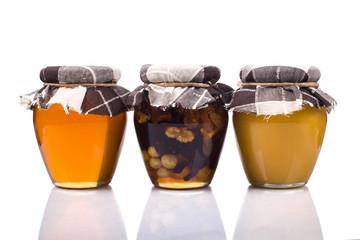 Three meadow honey jars