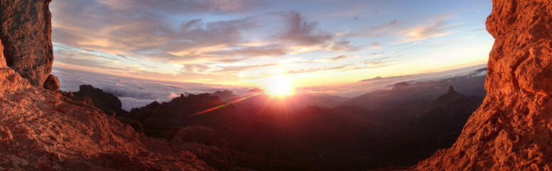 Fiery sunrise over a mountain landscape