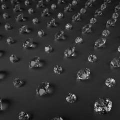 3d clear sparkling brilliants, diamonds on black background