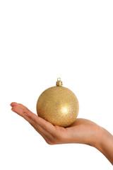 hand with gold christmas ball