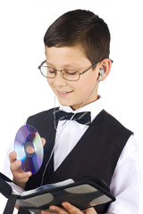 Young boy with cd isolated on white background