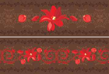 Ornamental dark brown borders with red tulips