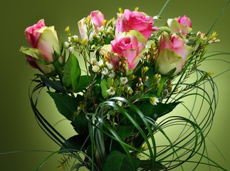 Bouquet of pink roses on green background.