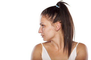 Profile of a woman without make-up