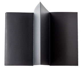 Isolated blank page of black book