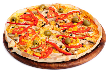 Pizza with Mozzarella, Mushrooms, Olives and Tomato Sauce