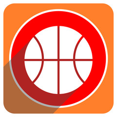 ball red flat icon isolated