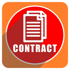 contract red flat icon isolated