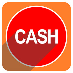 cash red flat icon isolated